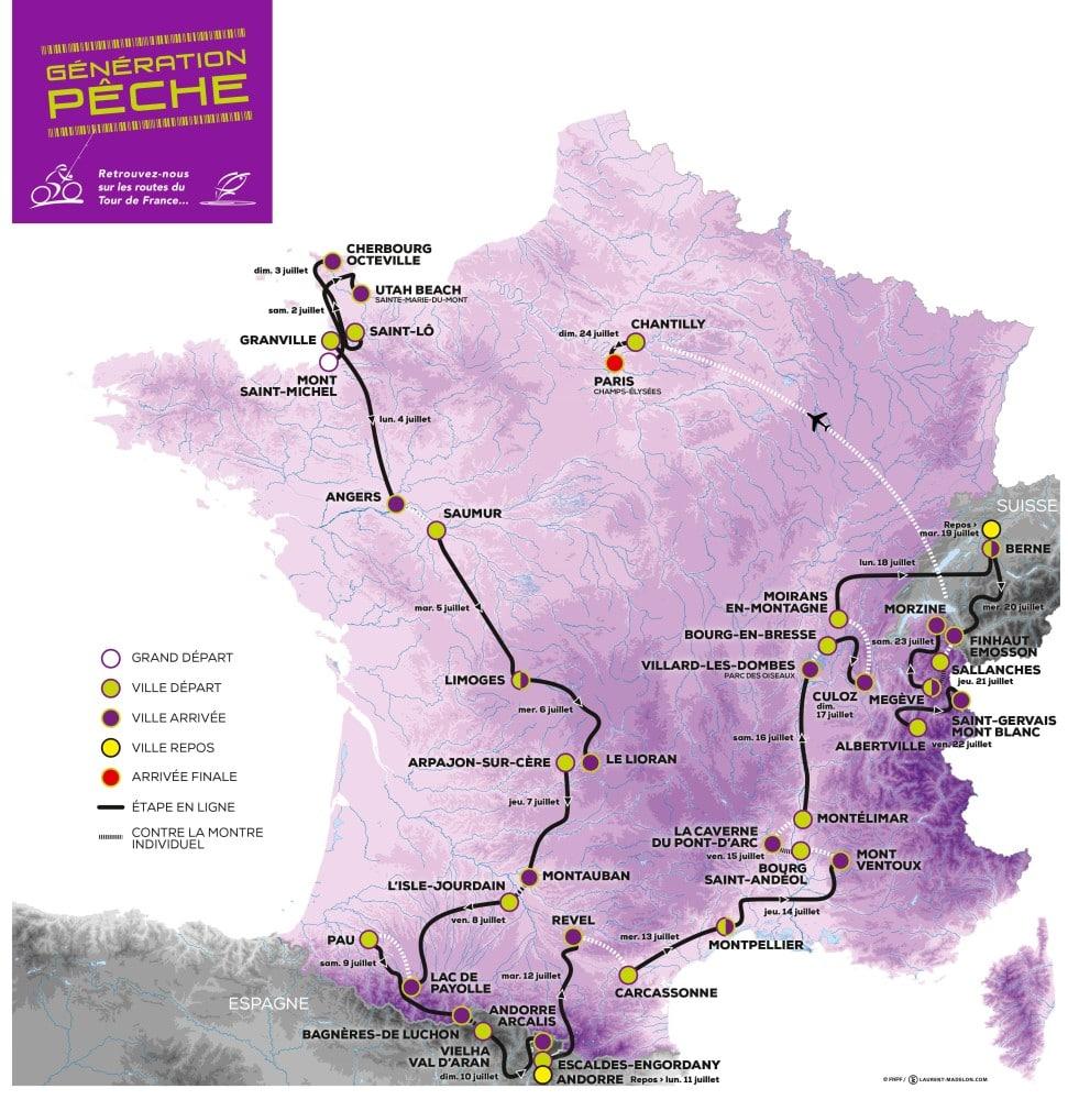 CARTE FRANCE FNPF TOUR DE FRANCE