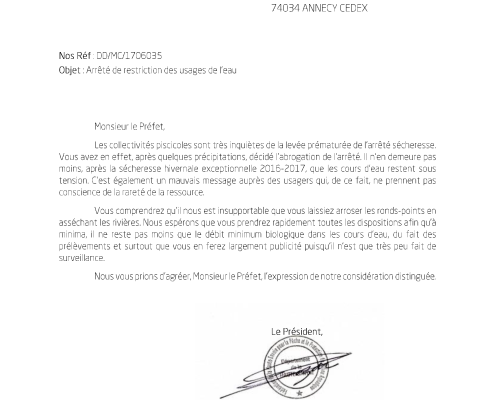 Courrier Pref_arrete secheresse